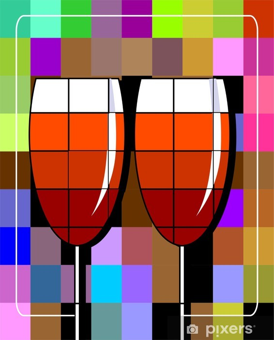Illustration of goblets of drinks Vinyl Wall Mural - Alcohol