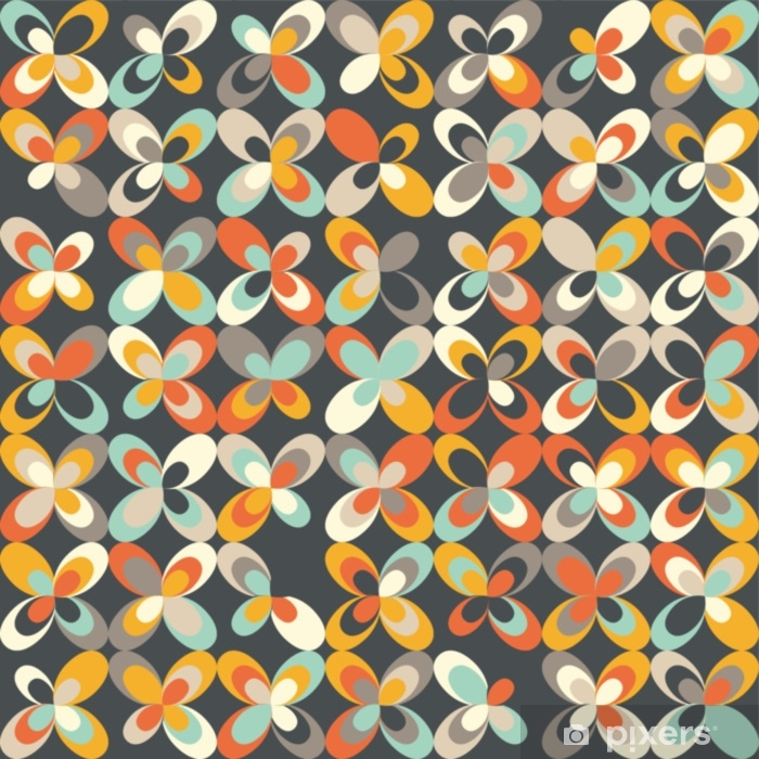 Midcentury Geometric Retro Background Vintage Brown Orange And Teal Colors Seamless Floral Mod Pattern Vector Illustration Abstract Retro