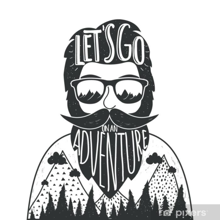 Sticker Vector Illustration De Style Dessiné à La Main Avec Un Homme Barbu à Lunettes De Soleil Les Montagnes Et Lettrage Citation Allons Y Une