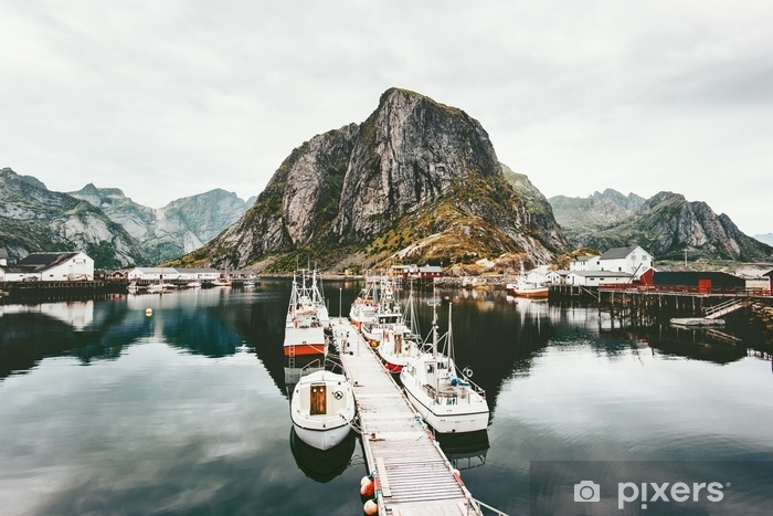 Lofoten islands rocky mountains and sea boats in Norway Landscape wild scandinavian nature scenic view Travel scenery Vinyl Wall Mural - Travel