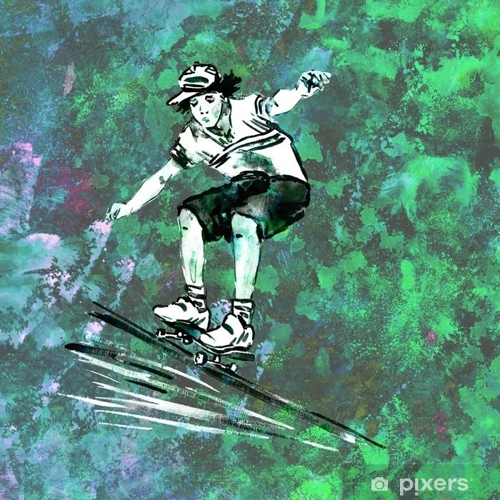Papier Peint Guy Sur Skateboard Style Graffiti Noir Dessin Sur Le
