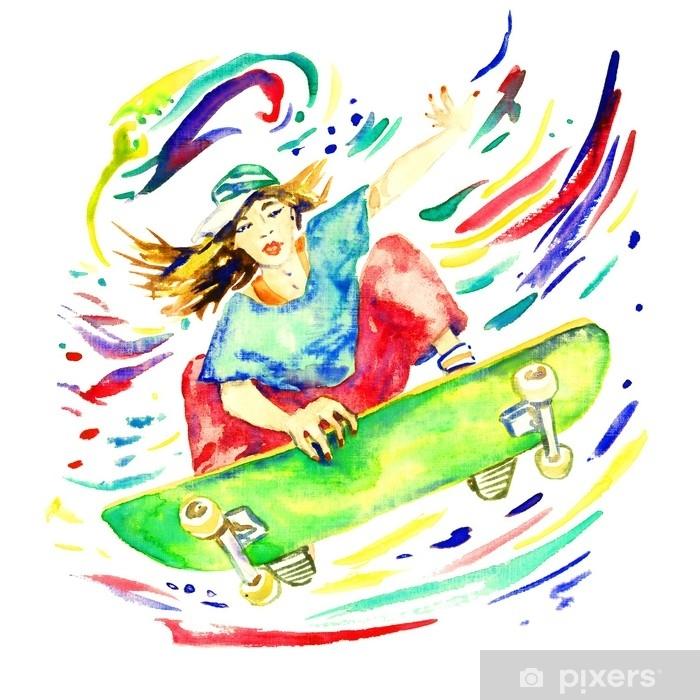 Plakat Dziewczyna skoki na deskorolce, kolorowe plamy wokół, ręcznie malowane akwarela ilustracja na białym tle - Sport