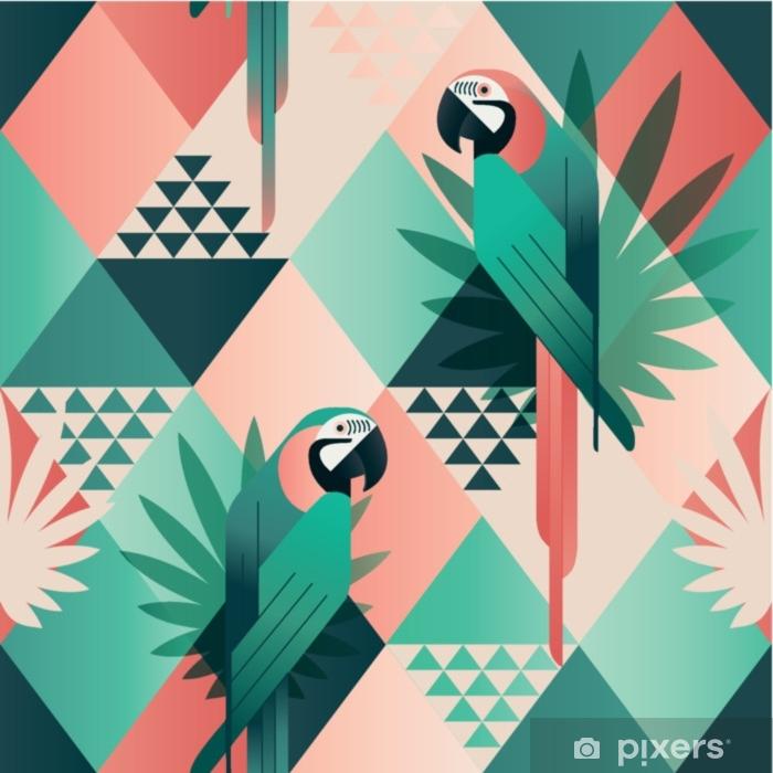Mural de Parede em Vinil Padrão sem emenda na moda de praia exótica, colcha de retalhos ilustrado folhas florais vetoriais tropicais. papagaios vermelhos e verdes da selva. papel de parede imprimir mosaico de fundo. - Animais