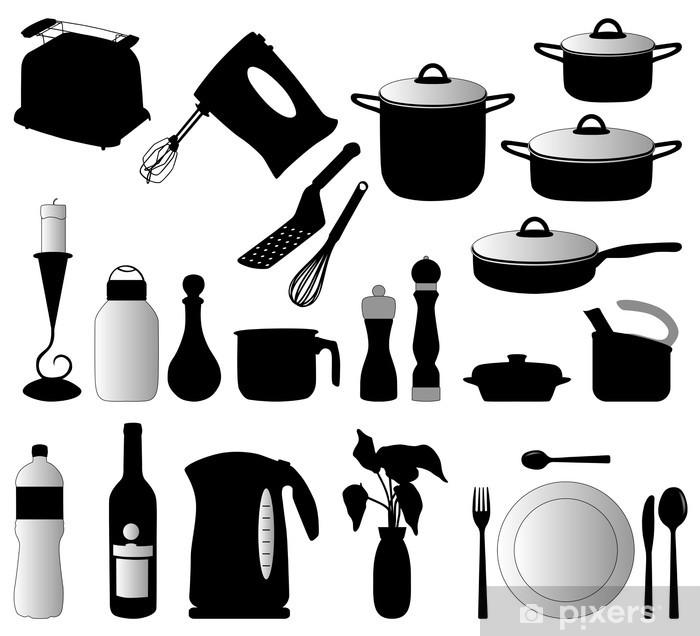 Carta da Parati Piatti, pan, mixer e altri oggetti di cucina ...