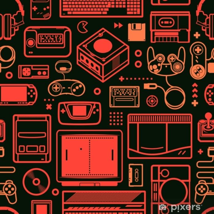 Vinil Duvar Resmi Vektör oldschool oyun nesneleri ile seamless modeli. renk şematik çizgiler. - Grafik kaynakları