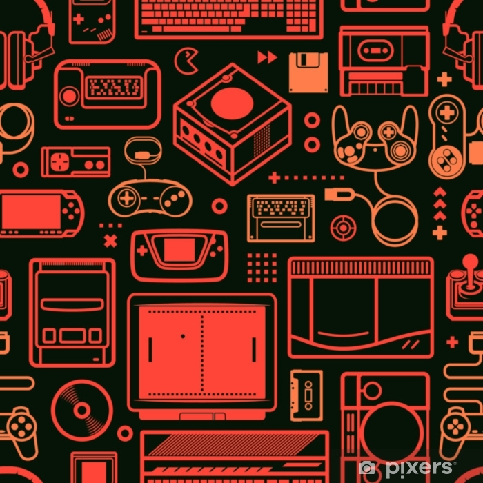 Vector seamless pattern with oldschool gaming objects. Color schematic lines. Vinyl Wall Mural - Graphic Resources