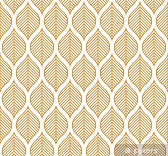 Vector Geometric Leaf Seamless Pattern. Abstract leaves texture. Vinyl Wall Mural - Graphic Resources