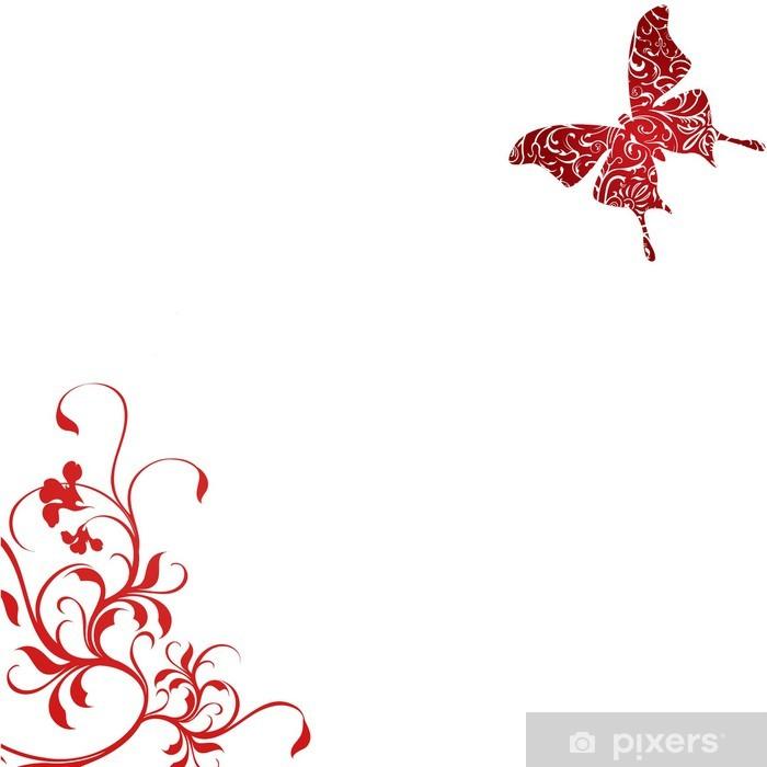 Plakat Fond floral PAPILLON ROUGE - Kwiaty