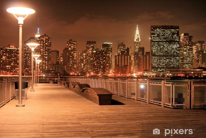 Vinyl-Fototapete Manhattan Skyline bei Nacht - Themen