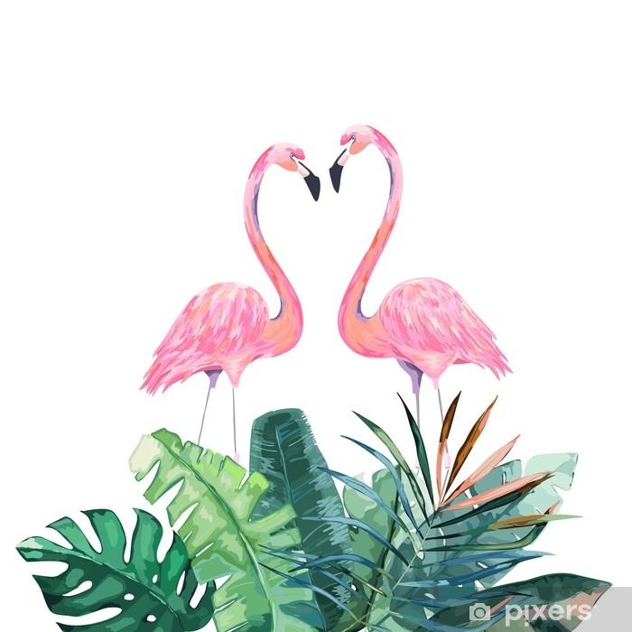 Papier Peint Couple De Flamants Roses Impression Tropicale Pour