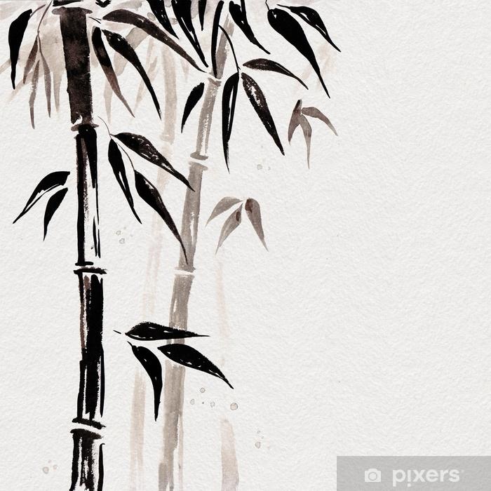 Sticker Bambou Dans Le Style De Peinture Japonaise. Traditionnelle Belle  Aquarelle Illustration Dessinée à La Main Pixerstick