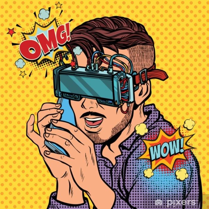 Fototapeta zmywalna Hipster człowiek w okularach wirtualnej rzeczywistości rozmawia przez telefon - Ludzie