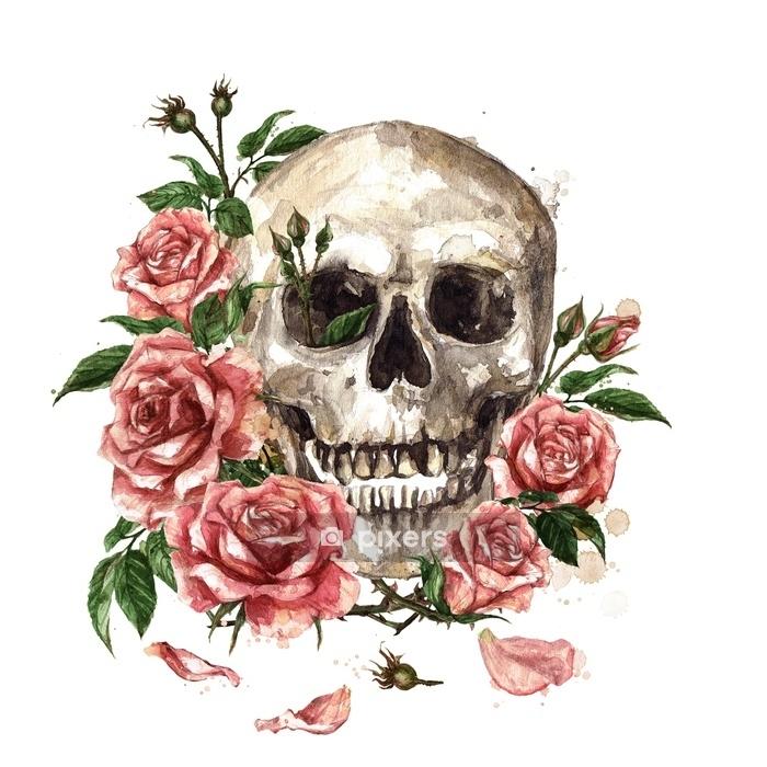 Naklejka na ścianę Ludzka czaszka otoczona kwiatami. akwarela ilustracja. - Religia i kultura