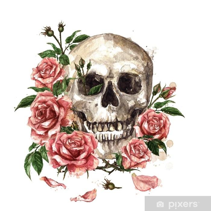 Sticker Pixerstick Crâne humain entouré de fleurs. illustration aquarelle. - Culture et religion