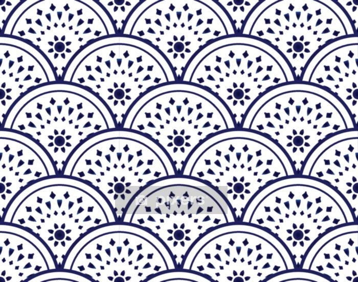 Dekbedovertrek Keramisch patroon blauw en wit - Grafische Bronnen