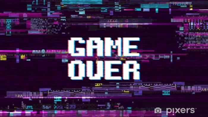 Naklejka Pixerstick Gra na fantastycznym tle komputera z ekranu retro efekt glitch noise wektorowych - Zasoby graficzne