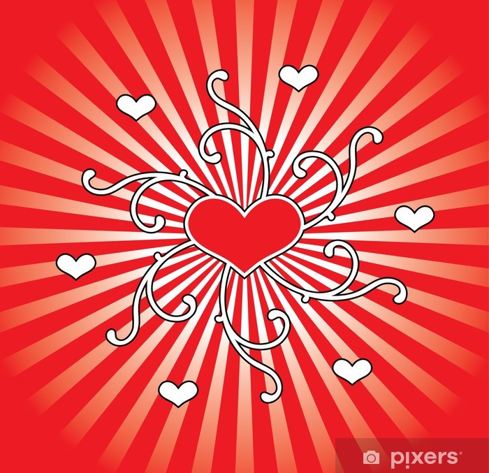 Illustration of hearts and ornaments. Poster - Happiness
