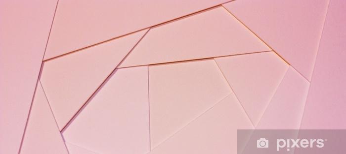 Fototapeta zmywalna Abstrakcyjne geometryczne tło w jasnych pastelowych kolorach z arkuszy grubego bladoróżowego papieru, tektury. - Zasoby graficzne
