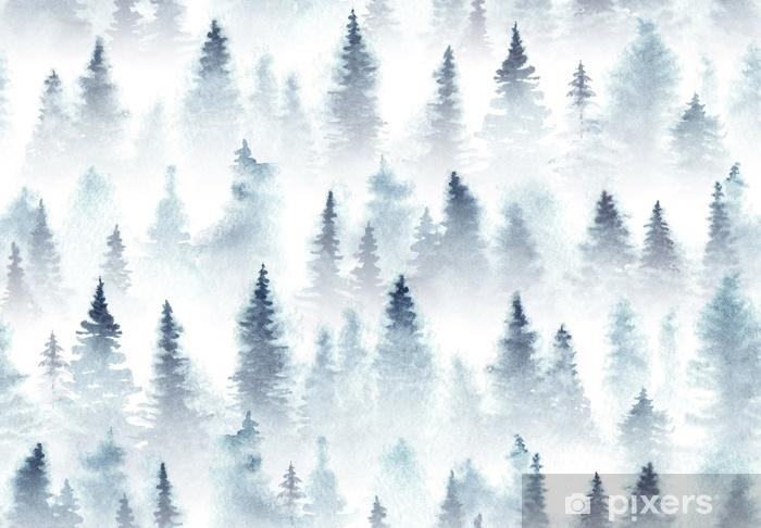 Fototapeta winylowa Wzór akwarela świerkowy las we mgle. - Krajobrazy