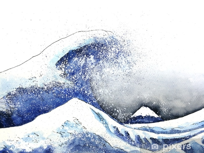 japanese great wave art. watercolor style.hand drawn Pixerstick Sticker - Landscapes