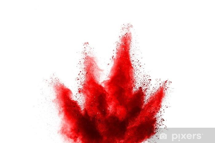Mural De Parede Explosao De Po Vermelho Sobre Fundo Branco Nuvem