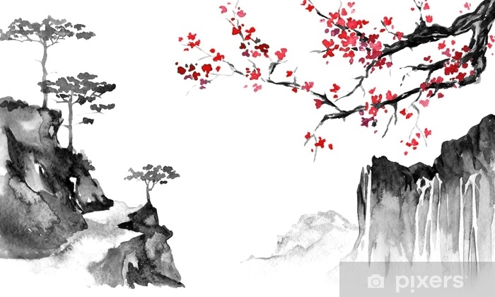 Japan traditional sumi-e painting. Indian ink illustration. Japanese picture. Sakura and mountains Pixerstick Sticker - Hobbies and Leisure
