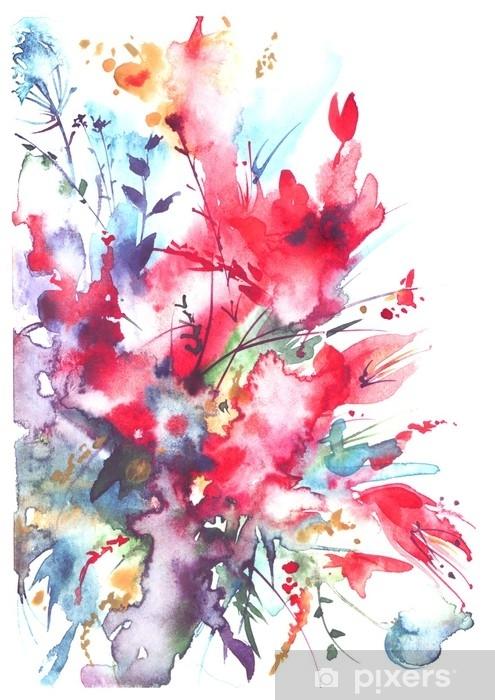 6257be2c9c1626 Fototapeta winylowa Akwarela bukiet kwiatów, piękny streszczenie plusk  farby, ilustracja moda. kwiaty orchidei, maku, chaber, czerwony mieczyk,  piwonia, ...