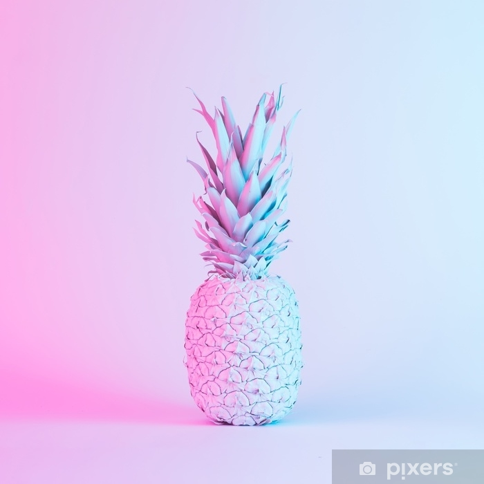 Pineapple in vibrant bold gradient holographic neon colors. Concept art. Minimal surrealism background. Pixerstick Sticker - Graphic Resources