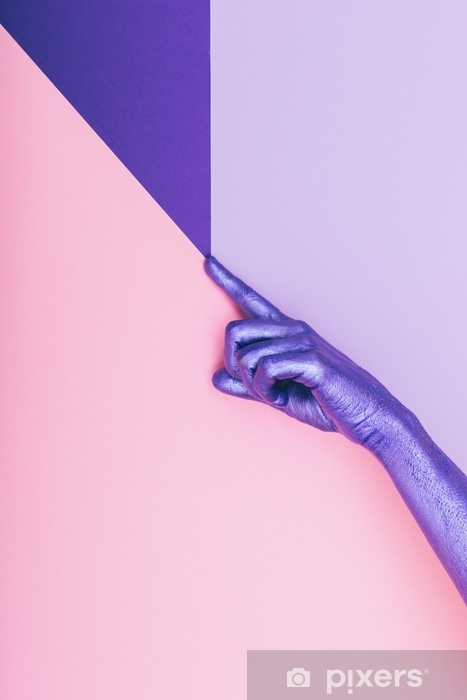 fashion pearly purple hand. ultra violet concept. pastel minimal. beauty and fashion Pixerstick Sticker - postersnew_main_row1_24