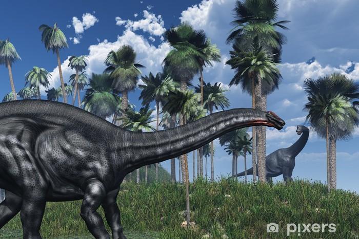 Sticker Pixerstick Scène préhistorique avec des dinosaures - 3D render - Thèmes