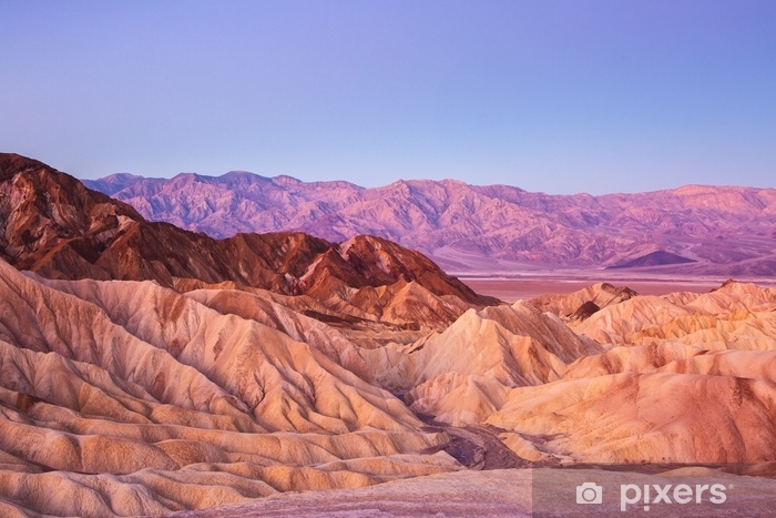 Scenic view from Zabriskie Point, showing convolutions, color contrasts, and texture in the eroded rock at dawn, Amargosa Range, Death Valley in Death Valley National Park, United States. Washable Wall Mural - Landscapes
