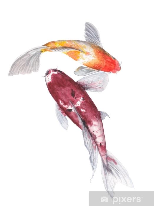 Naklejka Pixerstick Karp koi akwarela malarstwo. akwarela ręcznie malowane słodkie ilustracje zwierząt. - Zwierzęta