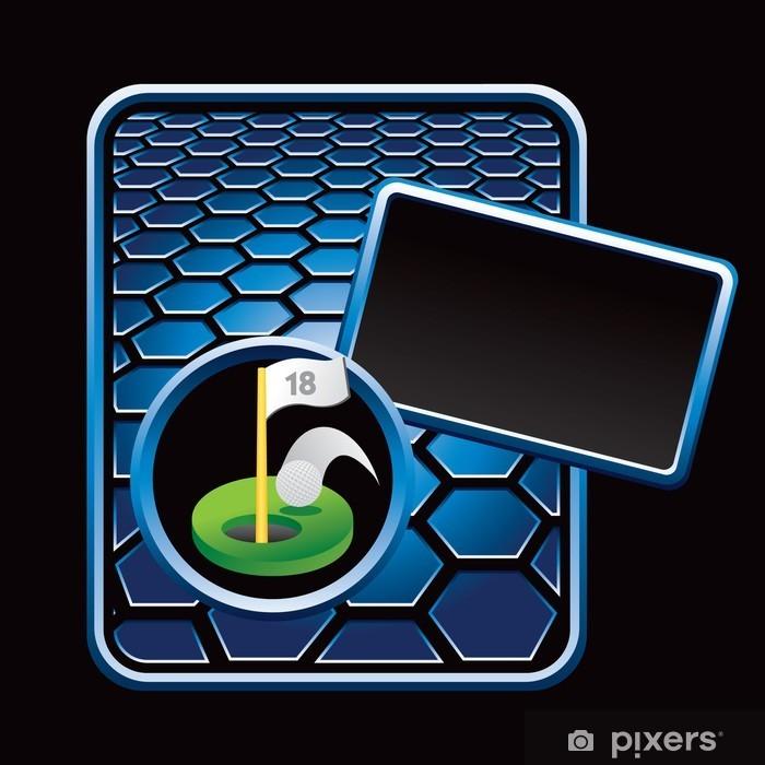 Sticker Pixerstick Trou de golf modèle hexagonal bleu - Sports individuels