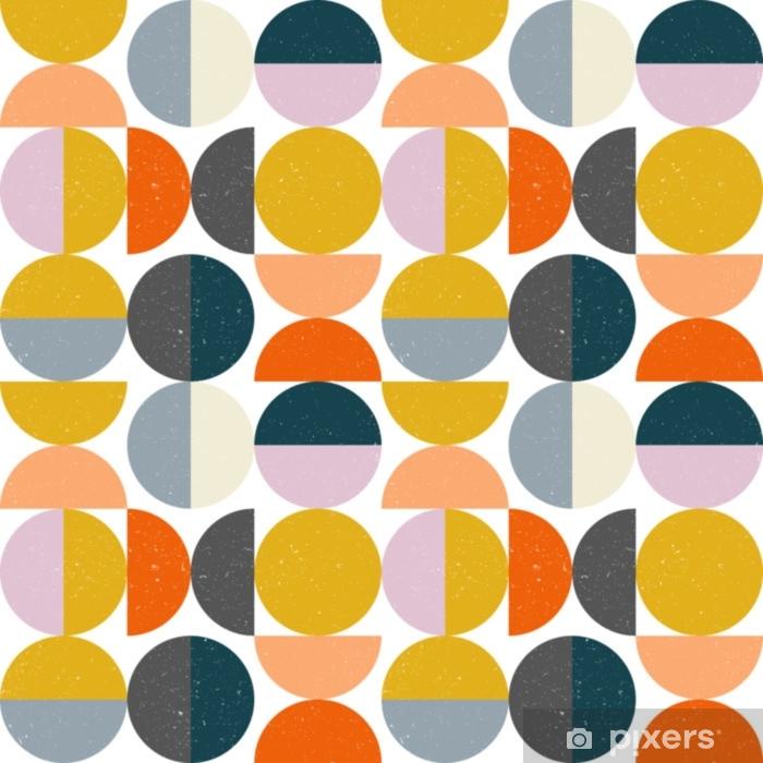 Vinyl-Fototapete Nahtloses geometrisches Muster der modernen Vektorzusammenfassung mit halb Kreisen und Kreisen in der Retro- skandinavischen Art - Grafische Elemente