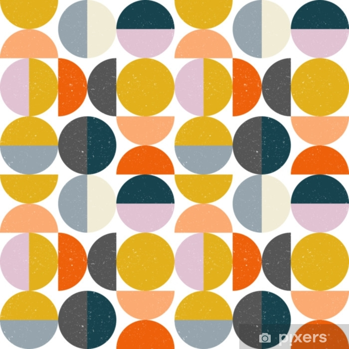 Moderne vektor abstrakt sømløs geometrisk mønster med halvcirkler og cirkler i retro skandinavisk stil Vinyl fototapet - Grafiske Ressourcer