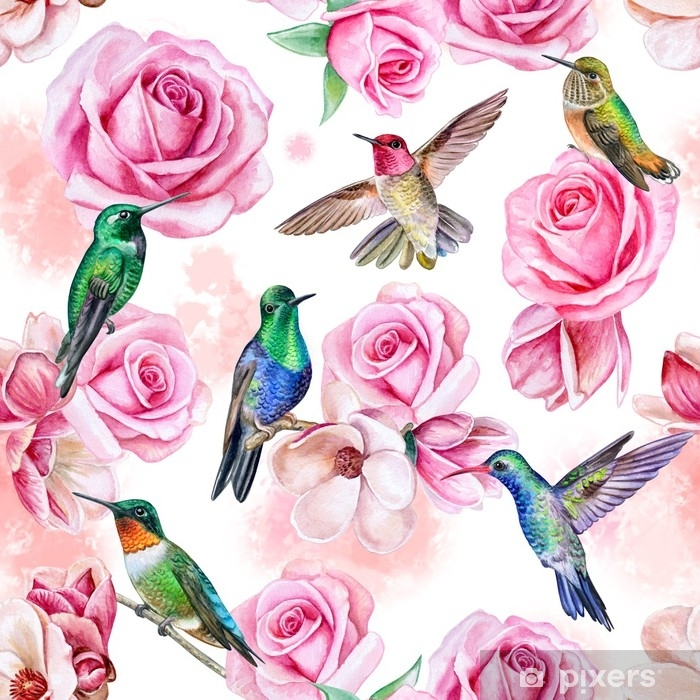 Roses Magnolia Birds Of The Hummingbird Seamless Wallpaper With