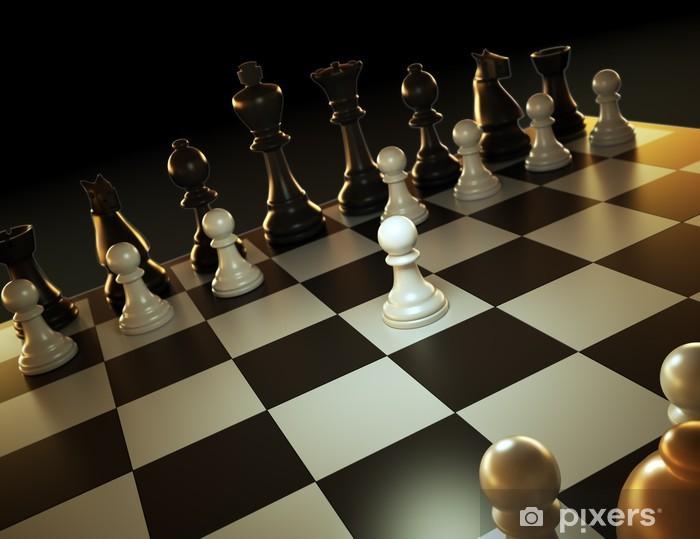 Nálepka Pixerstick Šachová partie - jeden proti mnoha. - Hry