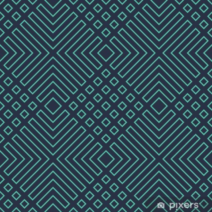 Afwasbaar Fotobehang Naadloze neon blauwe diagonale art deco geometrische schetsen patroon vector - Grafische Bronnen