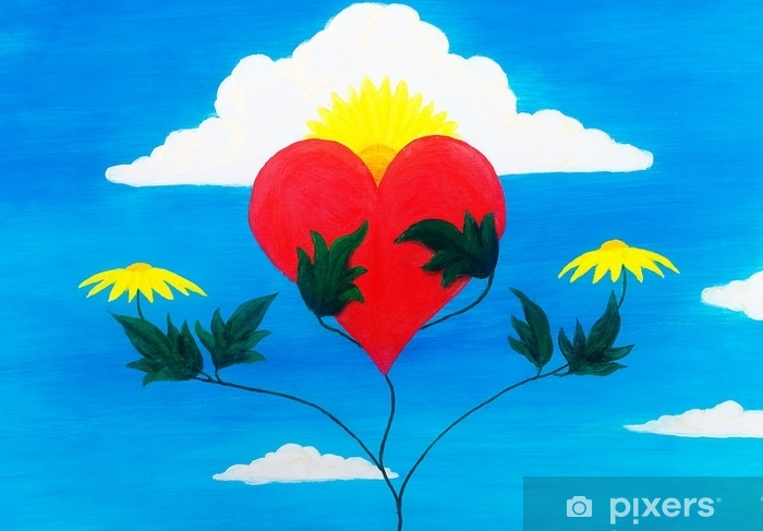 Vinyl Fotobehang Helende kracht van de natuur die haar hart voedt en herstelt met haar krachten. - Bloemen en Planten