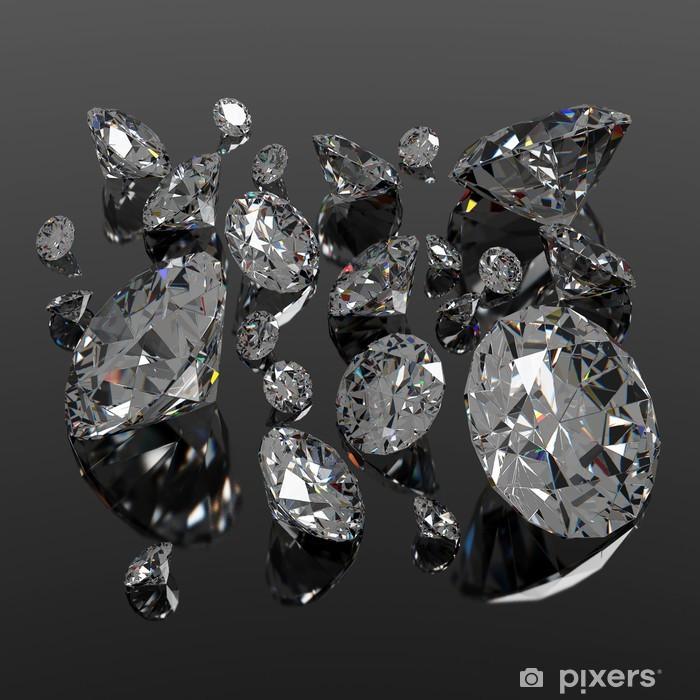 Naklejka Pixerstick Diamenty jewel na czarnej powierzchni - Moda
