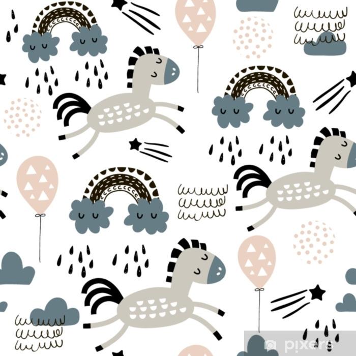 a7e51e85d Fototapet av vinyl Sømløs barnslig mønster med søte hester i himmelen,  regnbue. kreative barn tekstur for stoff, innpakning, tekstil, tapet, ...