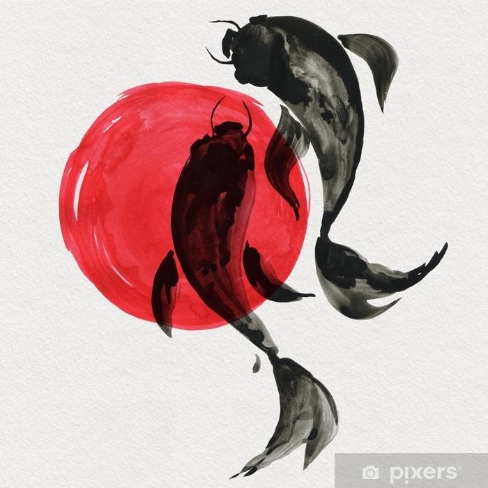 Carta da Parati in Vinile Pesci koi in stile di pittura giapponese. illustrazione disegnata a mano dell'acquerello bella tradizionale - Animali