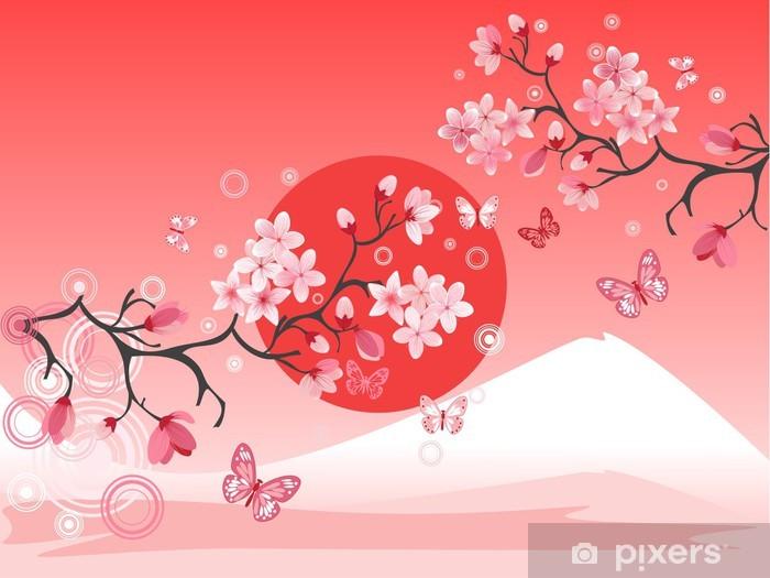 Sticker Cerisier Japonais Au Fond De La Montagne Pixers Nous Vivons Pour Changer