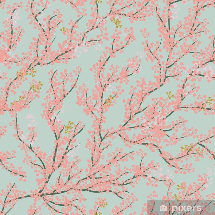 Pixerstick Sticker Achtergrond naadloze patroon met sakura boom. mooie Japanse achtergrond met roze sakurabloesem op een blauwe achtergrond Japanse kersenboom Vector illustratie - Bloemen en Planten