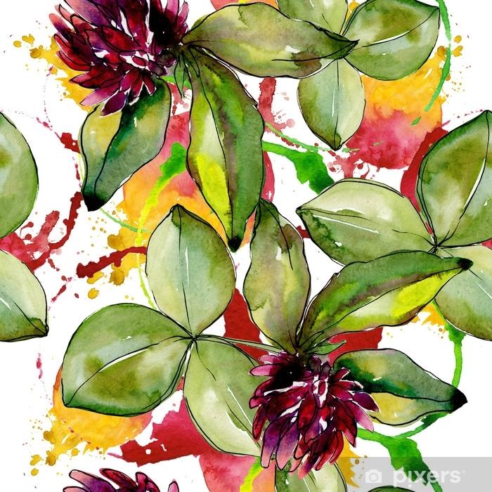 Sticker Pixerstick Trèfle de fleurs sauvages. fleur botanique florale. feuille de printemps sauvage modèle fleurs sauvages. aquarelle wildflower pour le fond, la texture, le motif d'emballage, le cadre ou la bordure. - Plantes et fleurs
