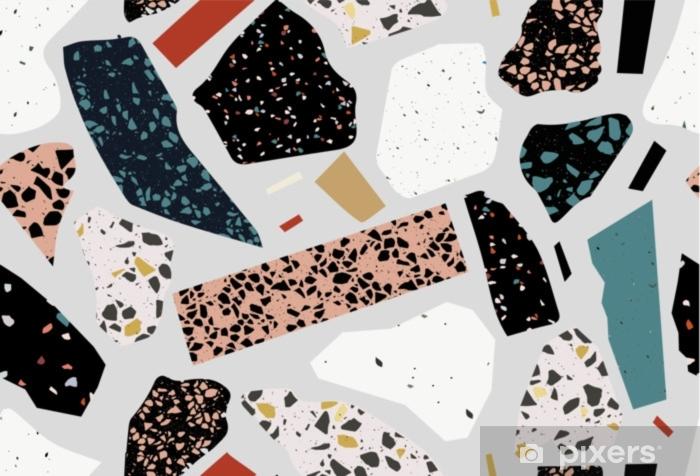Fotomural Estándar Terrazo de patrones sin fisuras. collage moderno. en blanco y negro. mármol. - Hobbies y entretenimiento