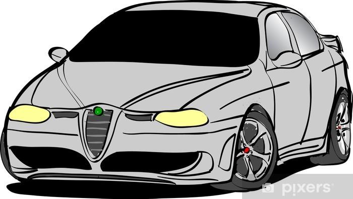 Sport Car Pixerstick Sticker - On the Road