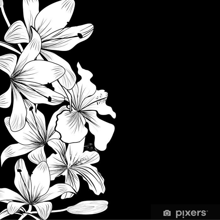 Papier peint vinyle Fond noir et blanc avec des fleurs blanches - Styles