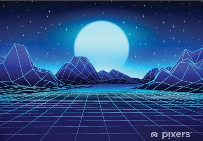 Vinyl Fotobehang Retro futuristisch landschap met zon en glanzend net - Grafische Bronnen