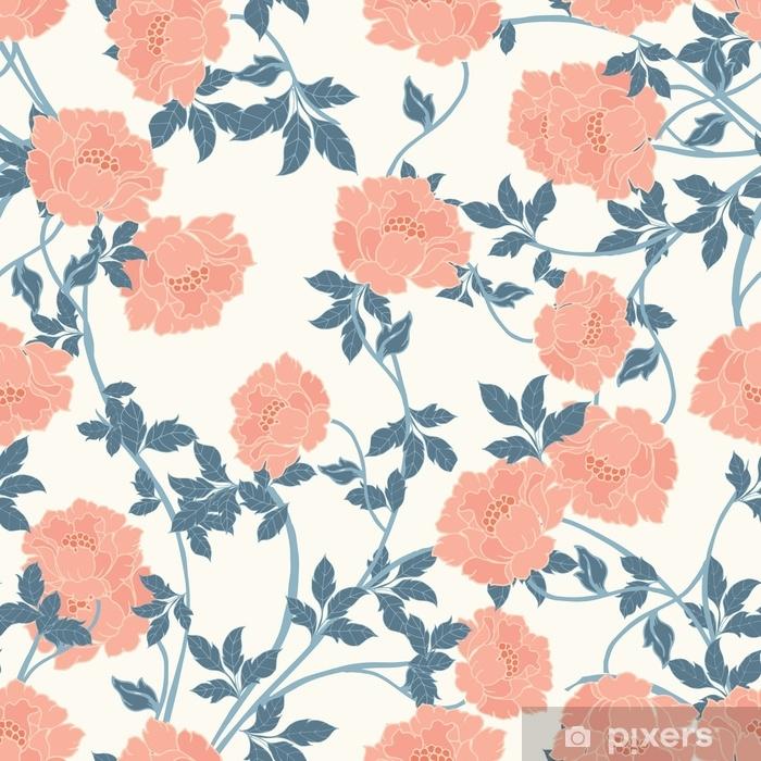 Autocolante para Janelas e Vidros Padrão de elegância abstrata com fundo floral. - Plantas e Flores